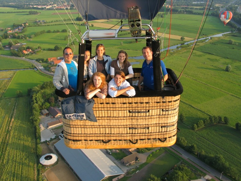 group of people in balloon up in the air